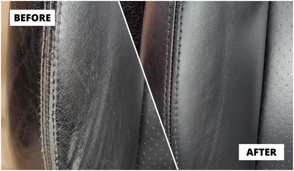 Car interior leather bolster repairs