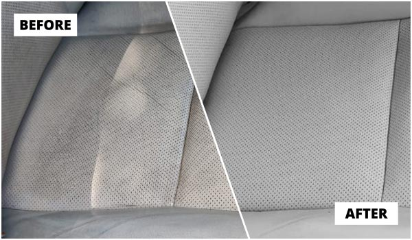 Leather car interior colour restoration