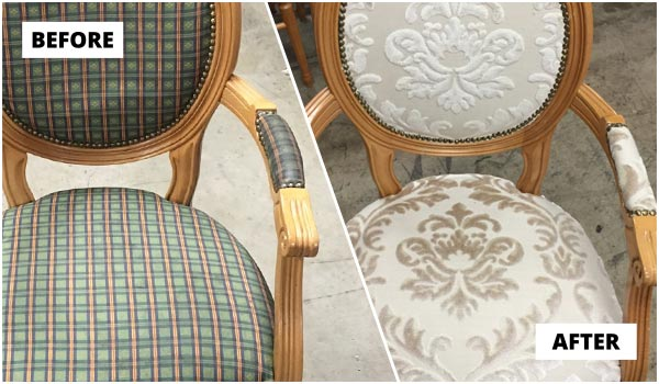 Customer's chair reupholstery in fabric
