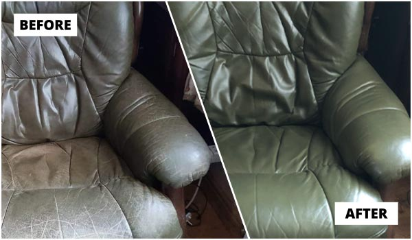 Warwick customer's leather chair reupholstery